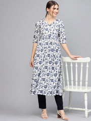 Women White & Blue Printed A-Line Kurta