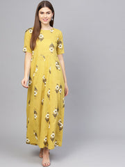 Women Yellow & Off-White Printed Maxi Dress
