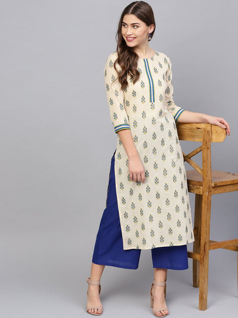 Women Cream-Coloured & Blue Printed Kurta with Palazzos