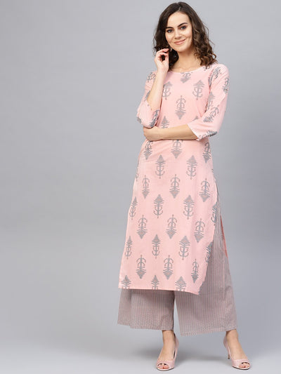 Women Pink & Teal Blue Printed Kurta with Palazzos