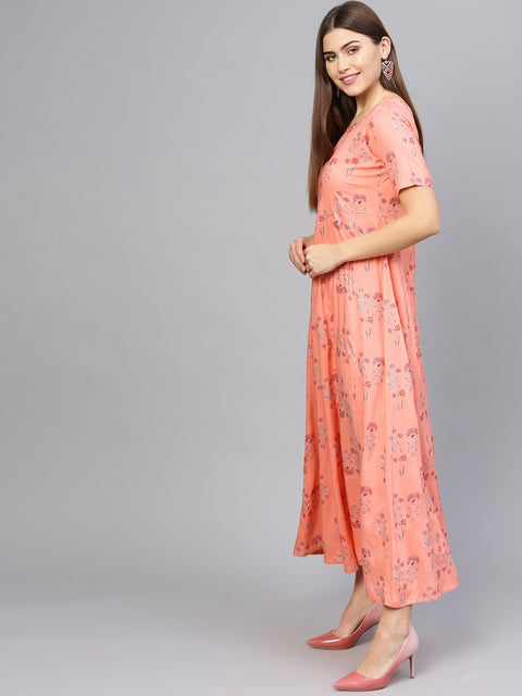 Women Peach-Coloured Printed Maxi Dress
