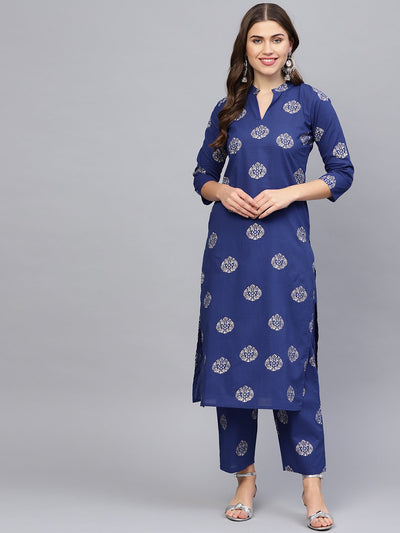 Women Blue & Golden Printed Kurta with Palazzos