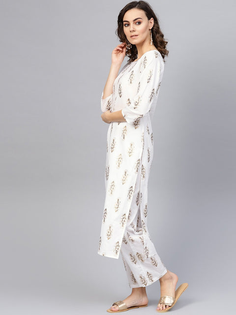 Women Off-White & Golden Printed Kurta with Trousers