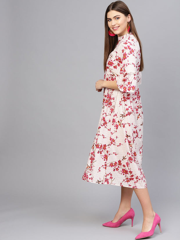 Women Off-White & Pink Printed Empire Dress