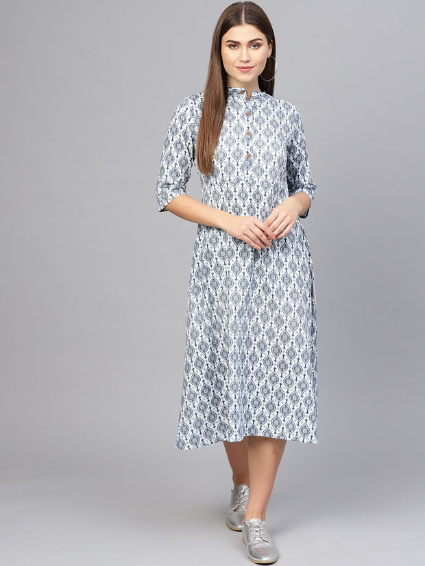 Women Navy Blue & Off-White Printed A-Line Dress