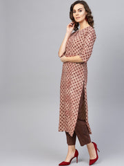 Women Beige & Brown Printed Kurta with Trousers