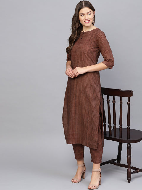 Women Brown Printed Kurta with Trousers