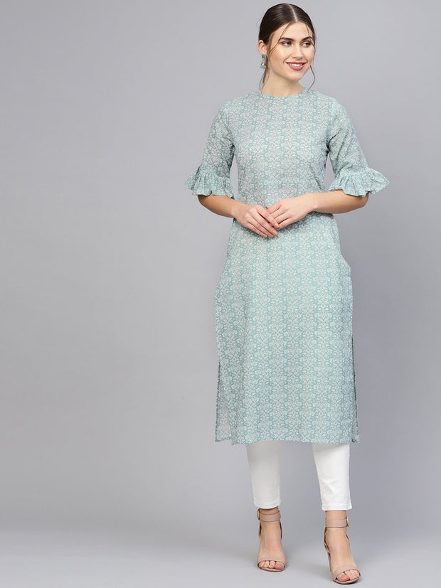 Women Grey & White Printed Straight Kurta
