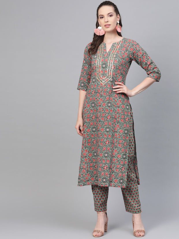 Sage Green with multi Floral printed kurta set with gota detailing