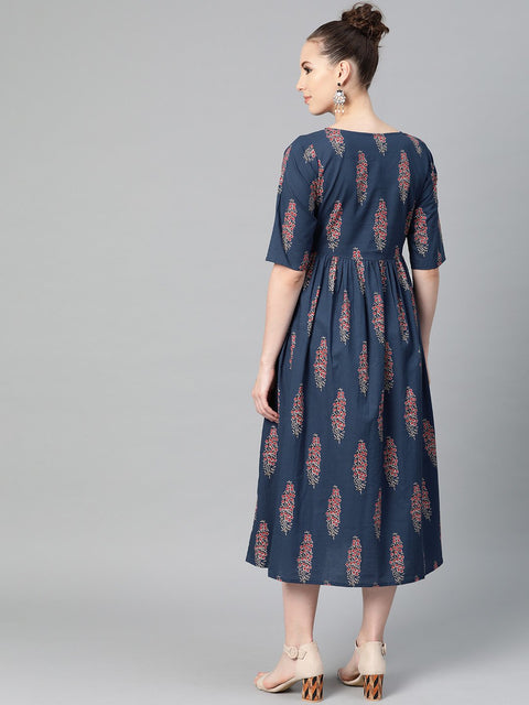 Cobalt Blue & red printed floral maxi dress Round neck & half sleeves