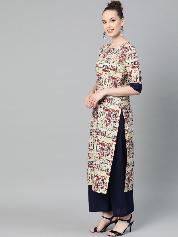 Beige with multi colored abstract print kurta with solid navy blue pallazos