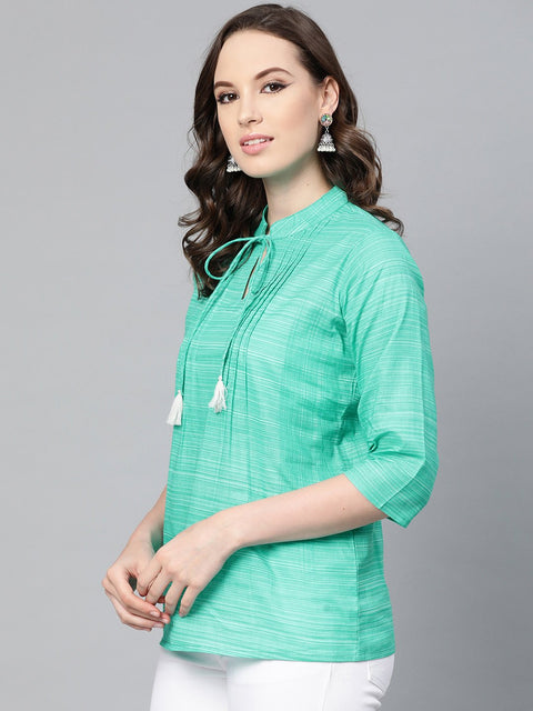 Solid Green self printed top with dori work at yoke