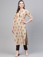 Beige with multi colored floral kurta with solid chocolate brown pants