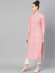 Pink & Off white Striped Printed Kurta with Solid White Pants