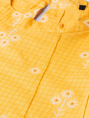 Yellow floral & checks printed a-line top