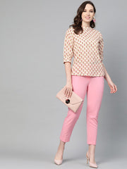 Cream and pink floral printed a-line top