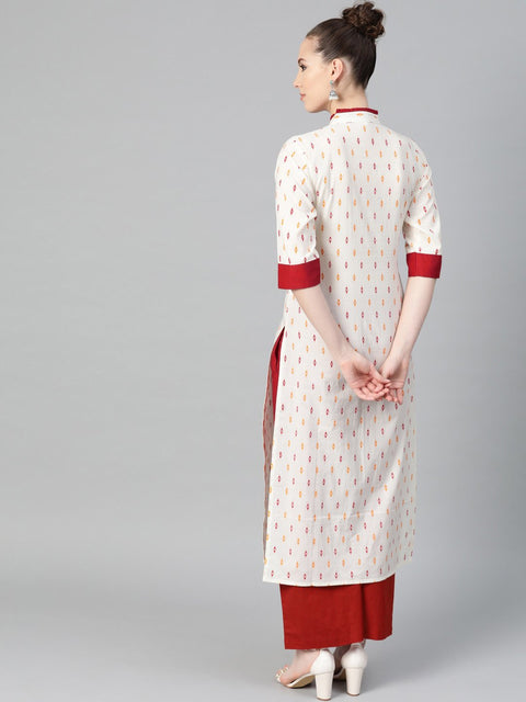 Off White with multi colored geometric print kurta with detailed collar and placket with solid maroon pallazo