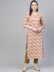 Cream & multi floral printed kurta with solid olive green pants