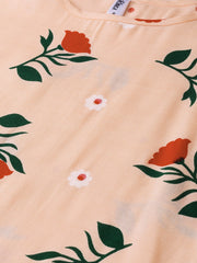 Peach Multi colored Floral printed Straight Kurta with Round neck & 3/4 sleeves