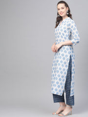 Off-white & blue Printed Straight kurta set with Palazzo & dupatta