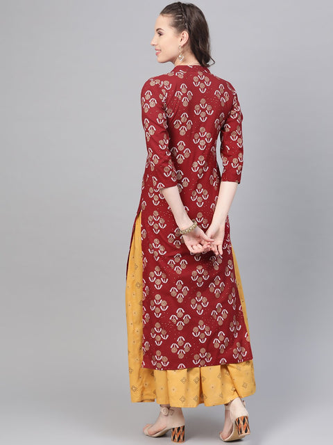 Berry Red & Mustard Yellow gold Printed Kurta set with Skirt
