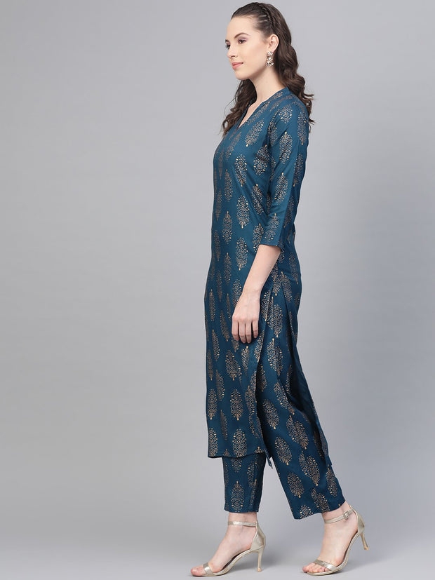 Teal Blue Gold printed Kurta Set With Pant