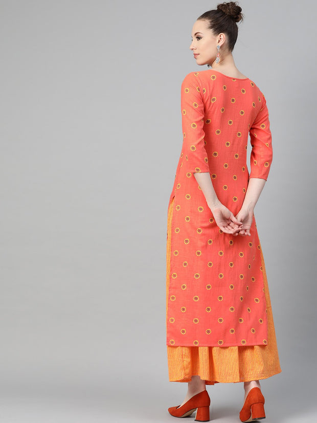 Peach & Mango Yellow Printed Kurta set with Skirt