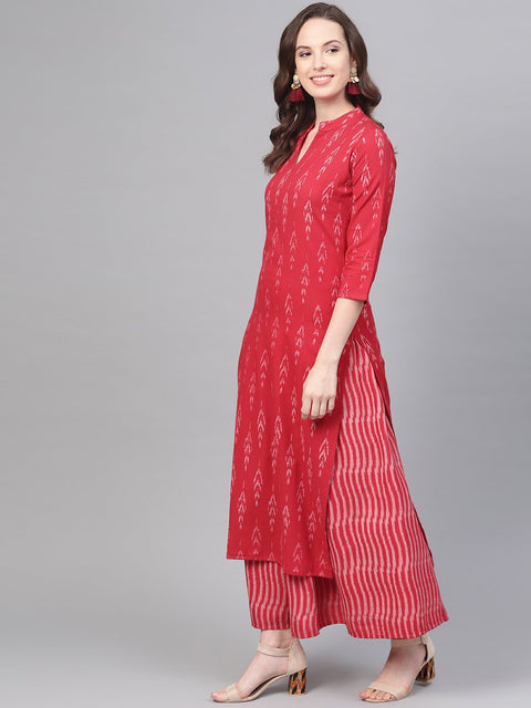 Fuscia Pink & grey Ikat printed Kurta set with Skirt