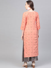Peach & Grey Gold printed Straight Kurta set with Skirt