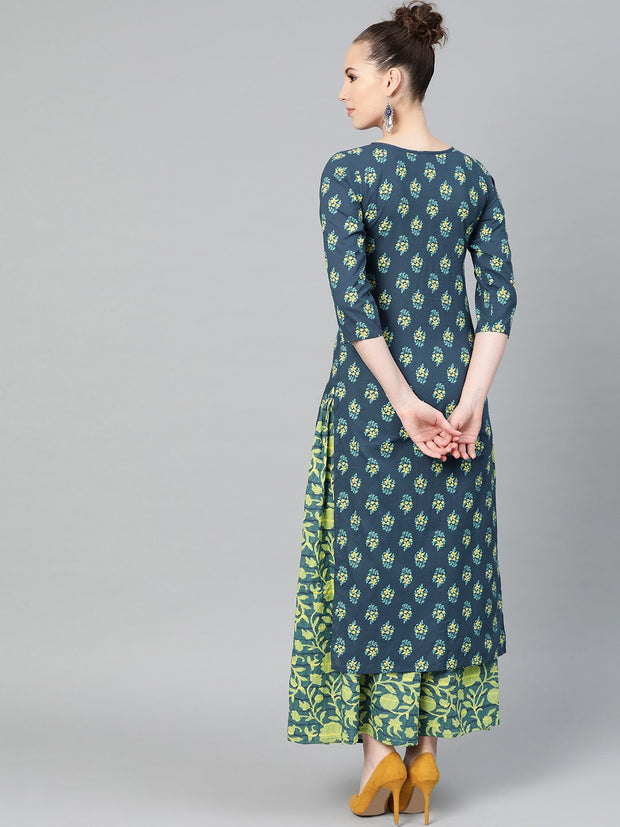 Teal Green & Lime Green Floral Printed Kurta Set with Skirt