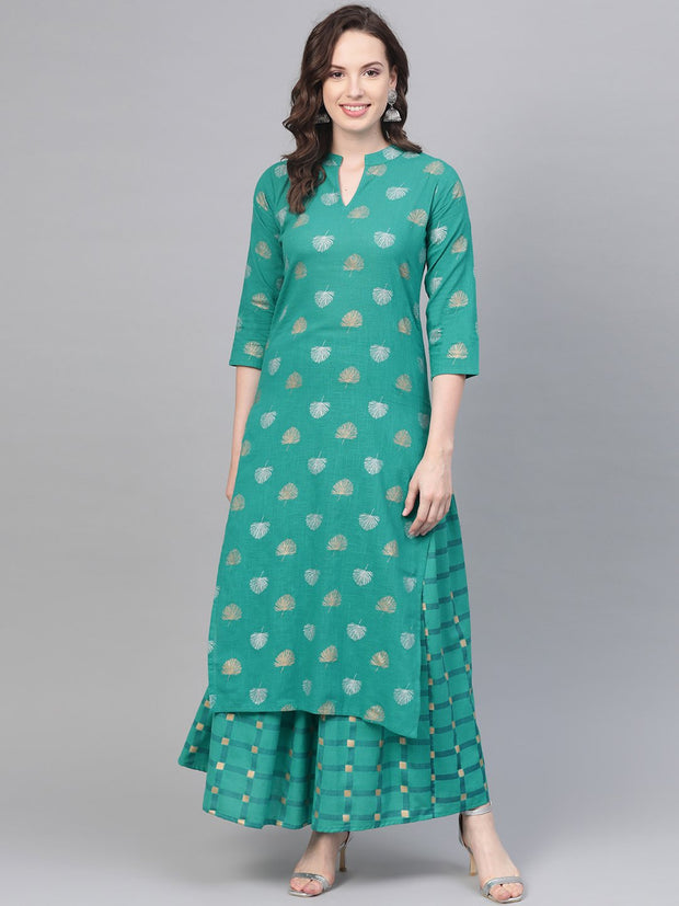 Rama Green Gold Printed Kurta set with Skirt