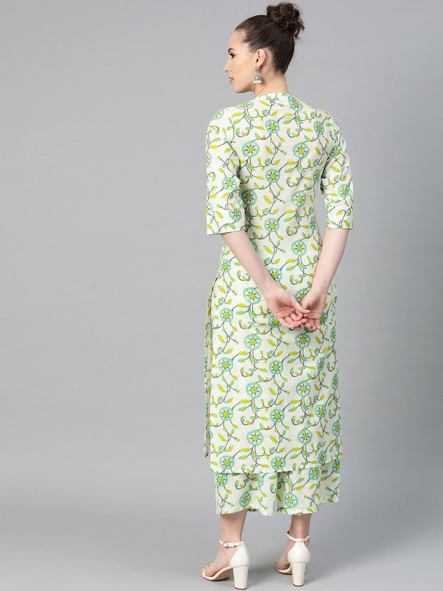 Off-White & Green Printed Kurta with Palazzo