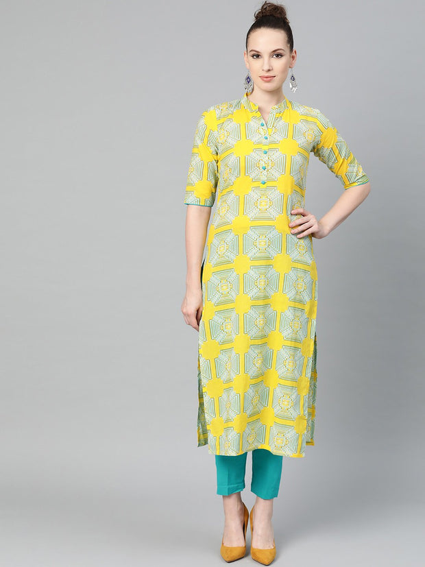 Mustard Printed Straight cotton kurta set with blue pant