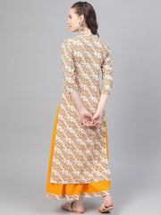 Cream & Yellow Gold floral printed Kurta set with Skirt