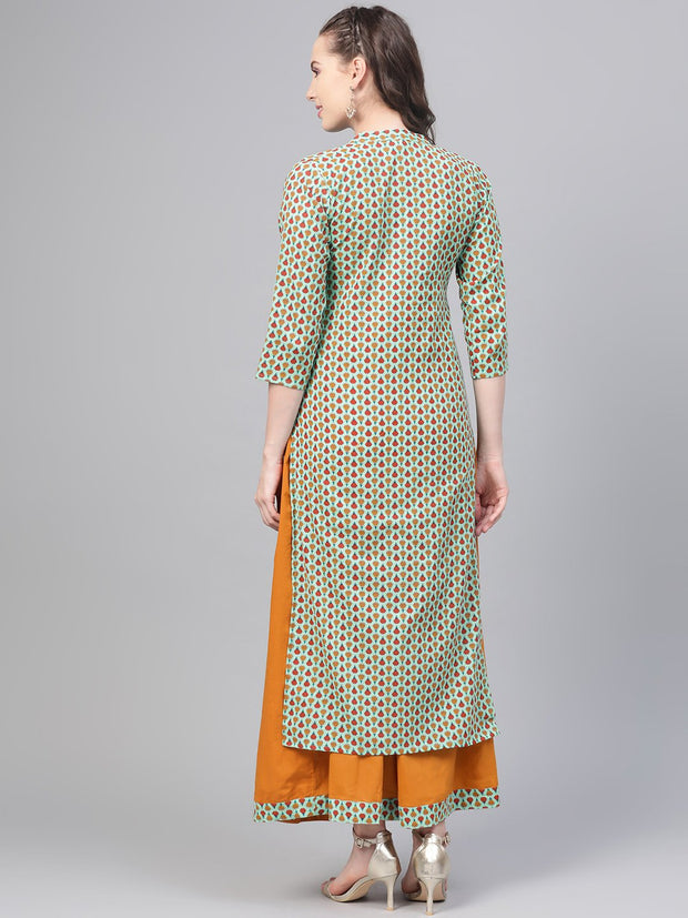 Pastel green Multi Colored Printed Kurta set with Solid Yellow Skirt