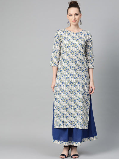 Off-White & Blue gold Floral printed Kurta set with Skirt