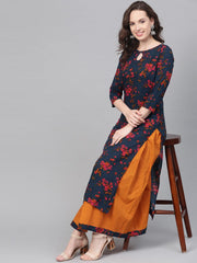 Teal Blue & Yellow Multi Colored floral printed Kurta set with Skirt