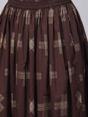 Yellow & dark brown printed Straight Kurta set wih Skirt