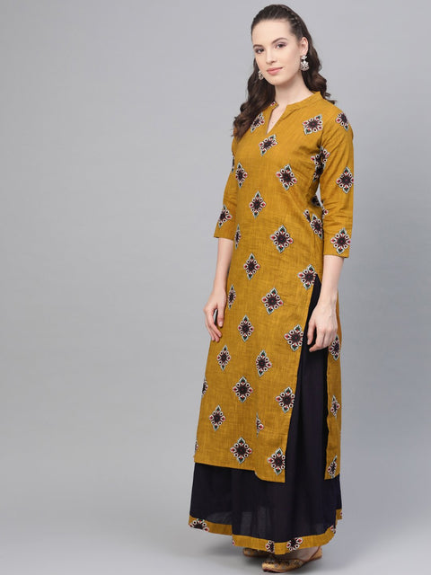 Mustard & Navy blue Straight printed Kurta set with Skirt