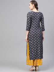 Grey Printed Straight Kurta set with Mango Checked Skirt