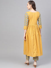 Yellow & Sage Green A-line Printed kurta set with Pant