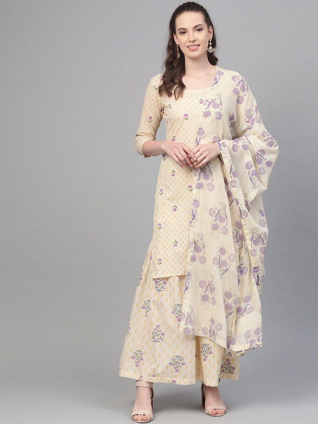 Off white & Lavender Printed kurta set with sharara and Dupatta