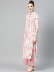 Off white & Pink Floral Printed kurta set with striped Pallazo