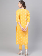 Yellow Checks & Floral multi printed kurta set with pants