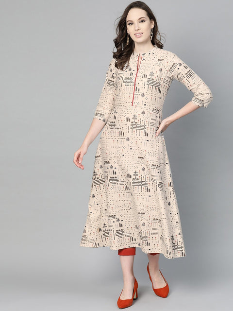 Beige and black printed A-line cotton Kurta