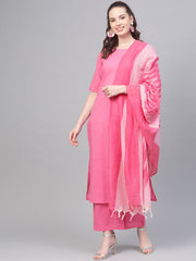 Pink Straight kurta set with Palazzo & Ikat dupatta