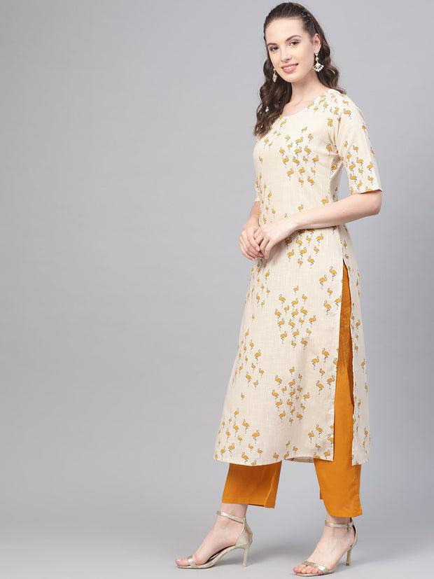 Mustard & off white Printed kurta Set with Palazzo & dupatta