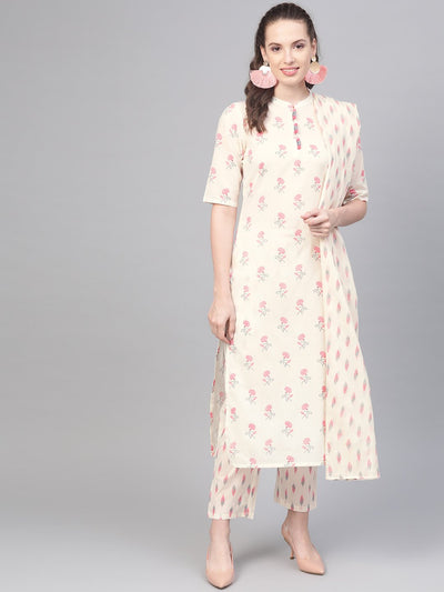off white & pink floral printed kurta with ikkat printed pallazo & dupatta