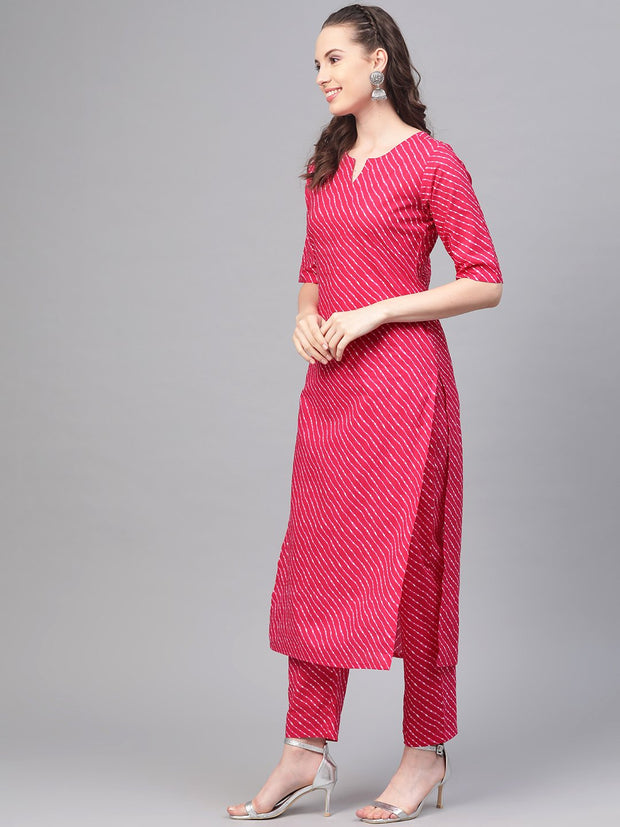 Rani Pink Leheriya printed kurta & pallazo with solid off white crinkled dupatta
