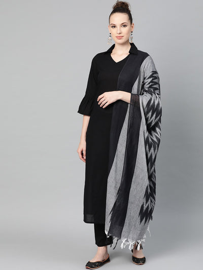 Solid Black Kurta & pallazo with grey & black chevron printed dupatta